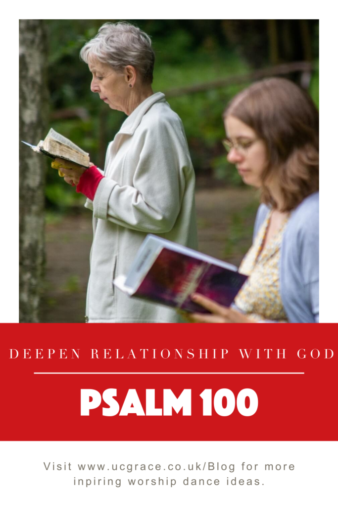 Pinterest graphic. Ladies reading the bible to deepen relationship with God.