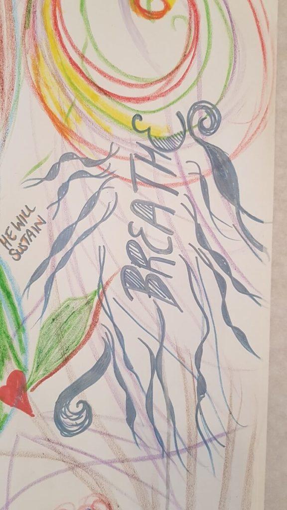 artwork saying breathe in worship