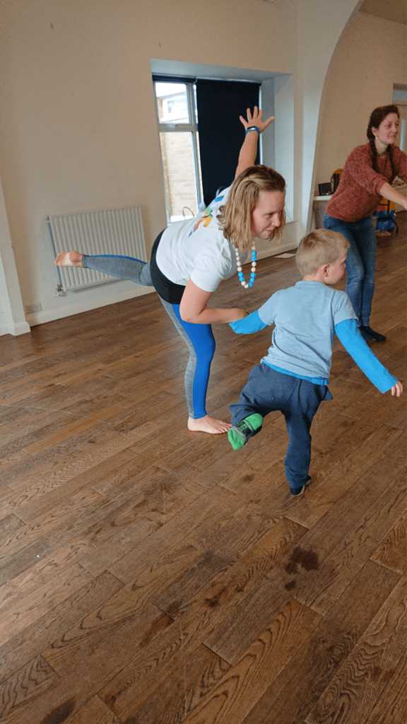 Engaging children in christian dance balancing on one leg