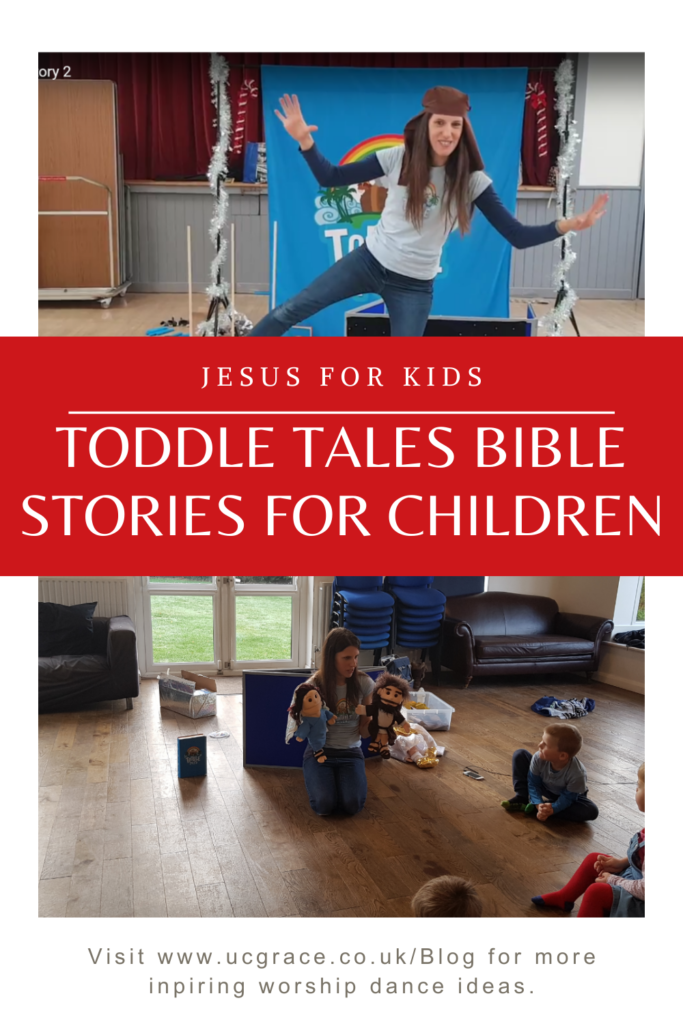 Pinterest graphic Toddle tales sharing Bible stories for children.
