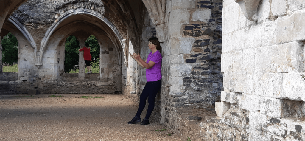 Praying against the ruins of Waverley Abbey.