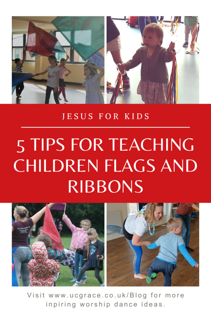 Children's worship pictures, holding flags and ribbons in different workshops.